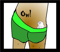owl tattoo on rump