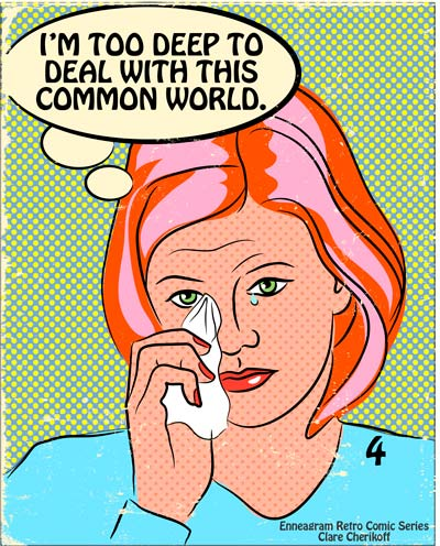 Retro comic enneagram type four crying