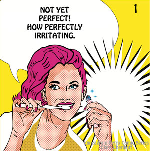 Retro comic enneagram type One wanting to be perfect