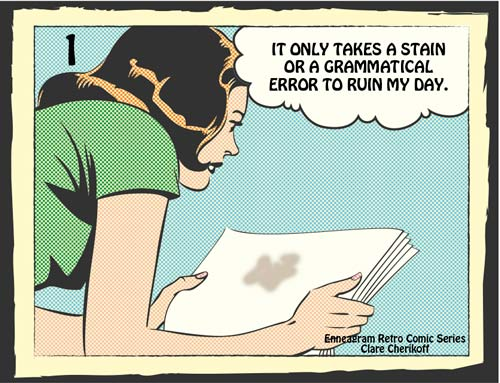 Retro comic enneagram type one looking at stain
