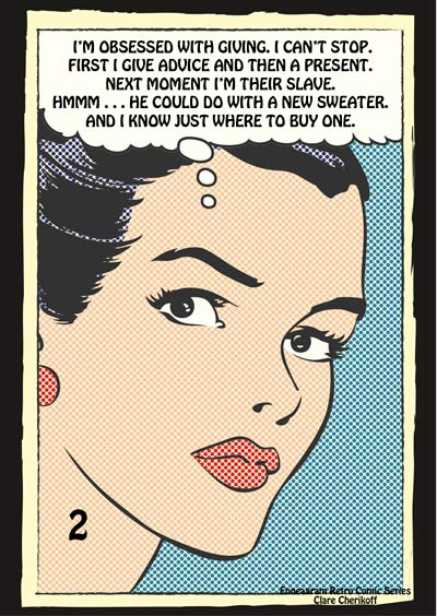 Retro Comic enneagram type two obsessed with giving